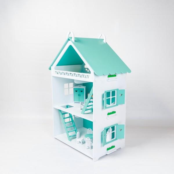Кукольный домик открытого типа для Барби (мятный)