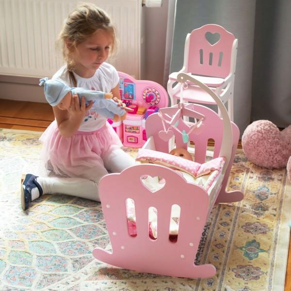 Кроватка Lilu для куклы до 50 см (Baby Born, Annabell) розовая