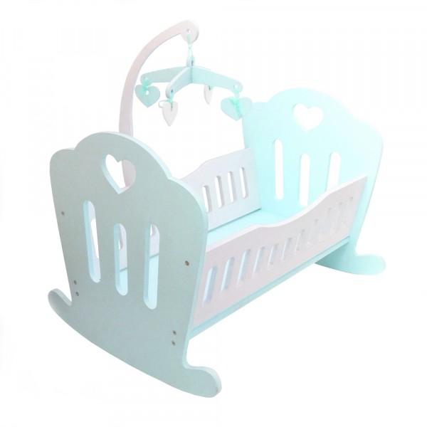 Кукольная кроватка Lilu для куклы до 50 см (Baby Born, Annabell) бирюзовая с мобилем