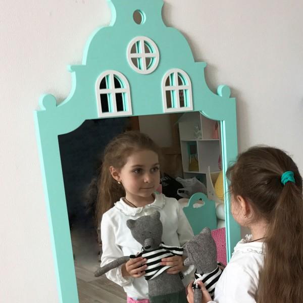 Детское зеркало Mint House Домик бирюзовое 116 х 57 см