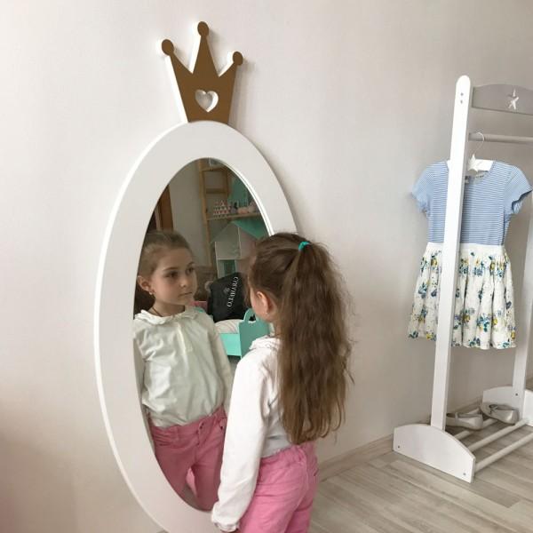Детское зеркало White Crown Овал с Короной белое 125 х 63 см