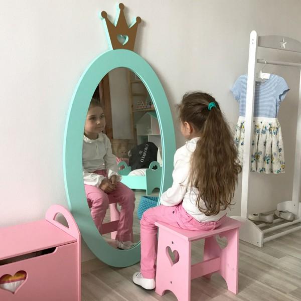 Детское зеркало Mint Crown Овал с Короной бирюзовое 125 х 63 см
