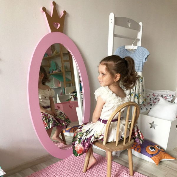 Детское зеркало Pink Crown Овал с Короной розовое 125 х 63 см