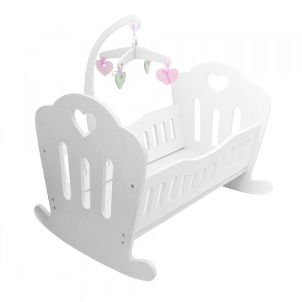 Кукольная кроватка Lilu для куклы до 50 см (Baby Born, Annabell) белая с мобилем