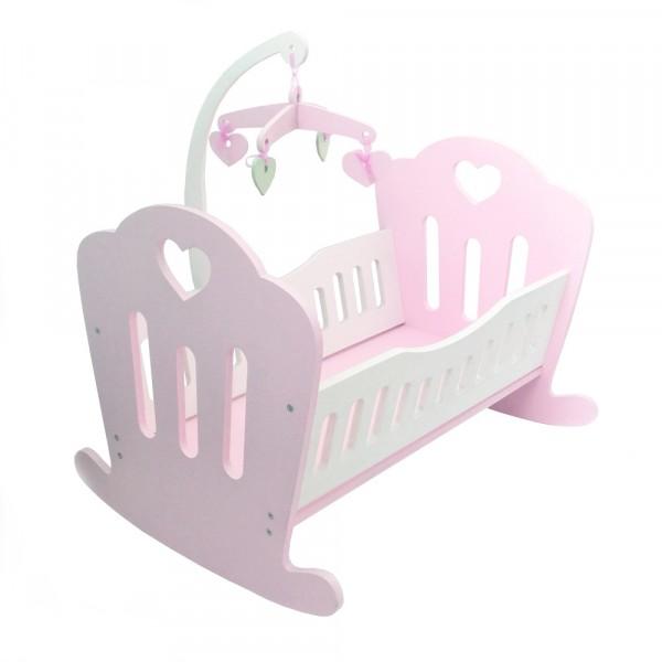 Кукольная кроваткаLilu для куклы до 50 см (Baby Born, Annabell) розовая с мобилем