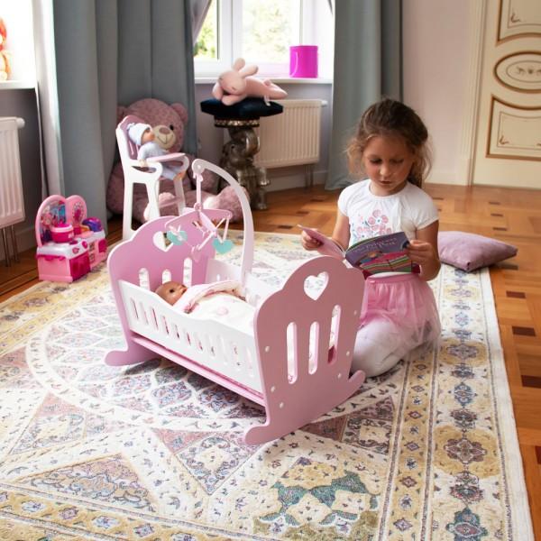 Кроватка Lilu для куклы до 50 см (Baby Born, Annabell) розовая с мобилем