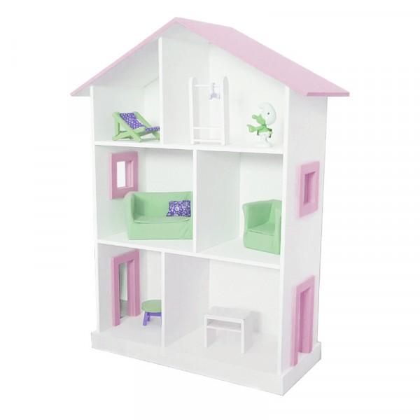 Кукольный дом Большой белый с розовой крышей и окнами
