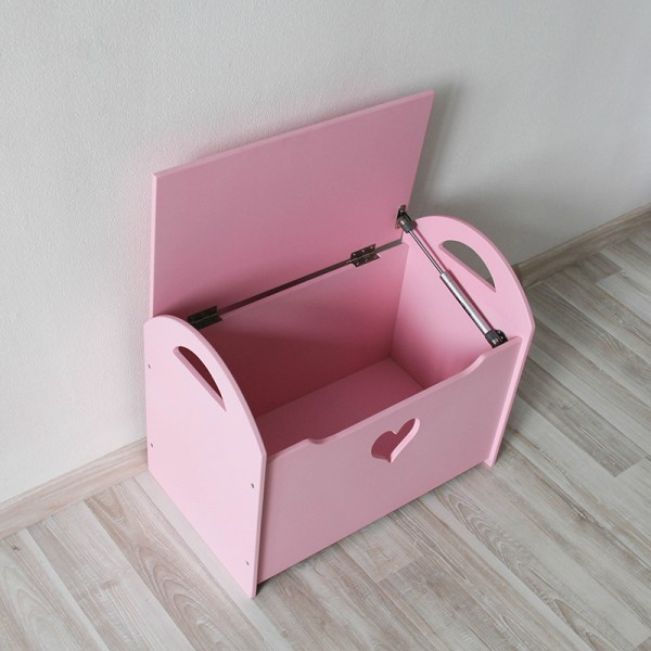 Детский сундук (ящик) для хранения игрушек розовый с сердечком
